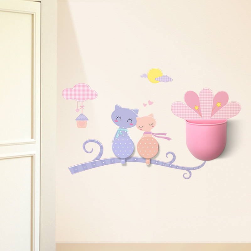 Творческий мультики наклейки для стен подключить хранение ведро костюм мощный бесшовный липучки ванная комната кухня декоративный