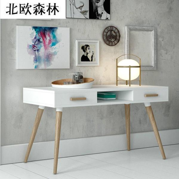 北欧宜家实木书桌 日式家用电脑桌简约办公桌 欧式现代写字台