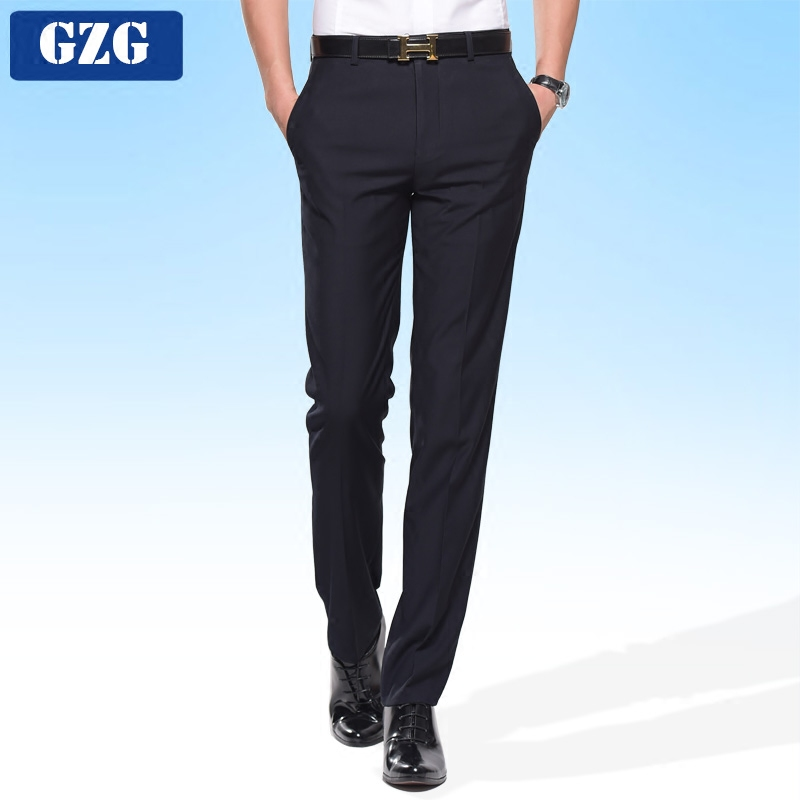Summer thin mens trousers mens slim Korean version easy to wear business casual professional business suit pants mens long pants