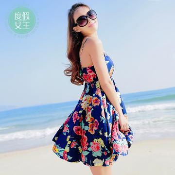 度假女王韩版女装修身显瘦印花吊带连衣裙波西米亚沙滩短裙