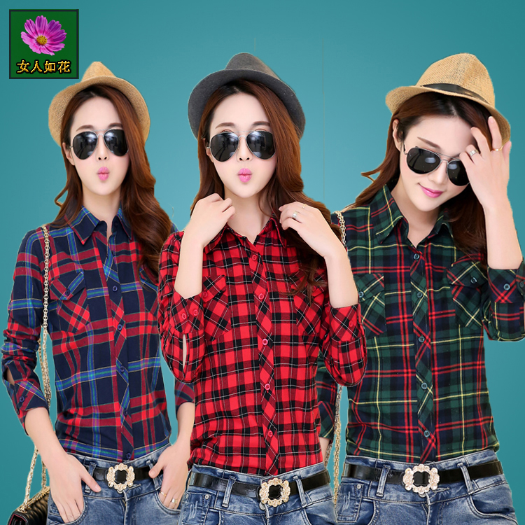 Fashionable Plaid Shirt womens short cotton long sleeve 2020 spring and autumn large size versatile Korean style top slim style