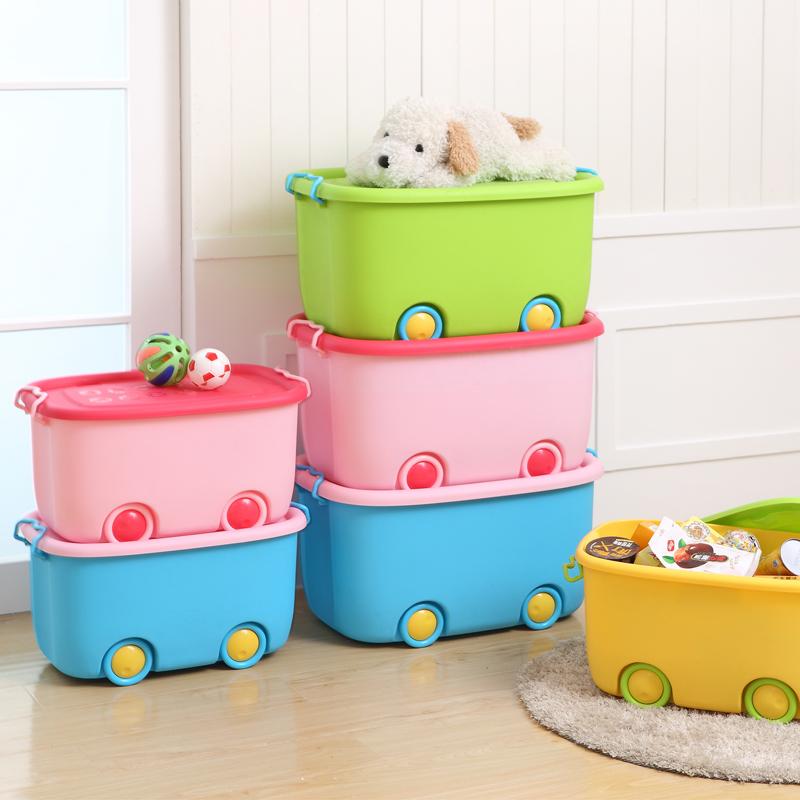 加大號收納箱衣服玩具箱卡通整理盒衣物周轉儲物筐子塑料有蓋