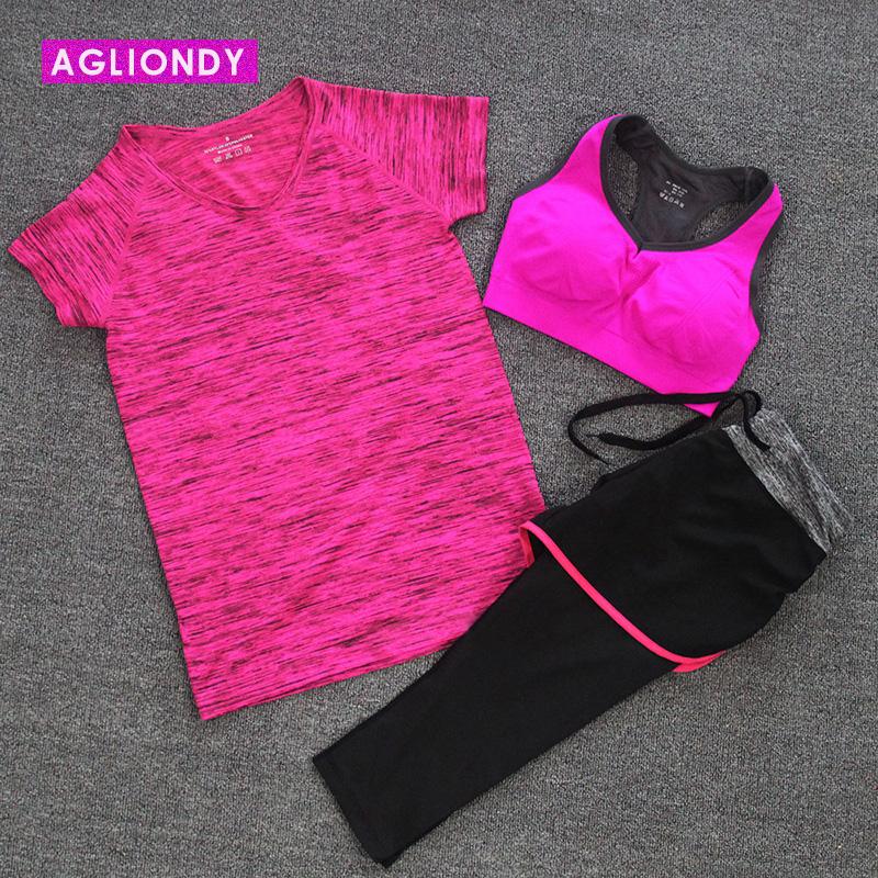 健身房 短袖瑜伽服健身服女三件套裝跑步七分褲 顯瘦春夏款