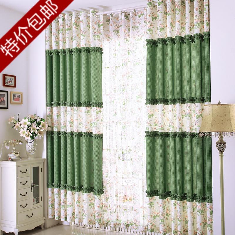 Зеленый занавес ткани хлопок, лен готовые занавес пользовательских мозаичного пола до потолка окна красивая принцесса номер спальни скидки