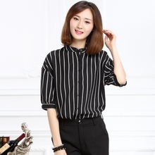 The European and American wind 2015 new summer dresses striped blouse shirt 019 p45