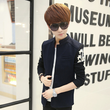 Teenagers new jacket splicing knitted sleeve suit small suit male, Japan and South Korea fashion men coat
