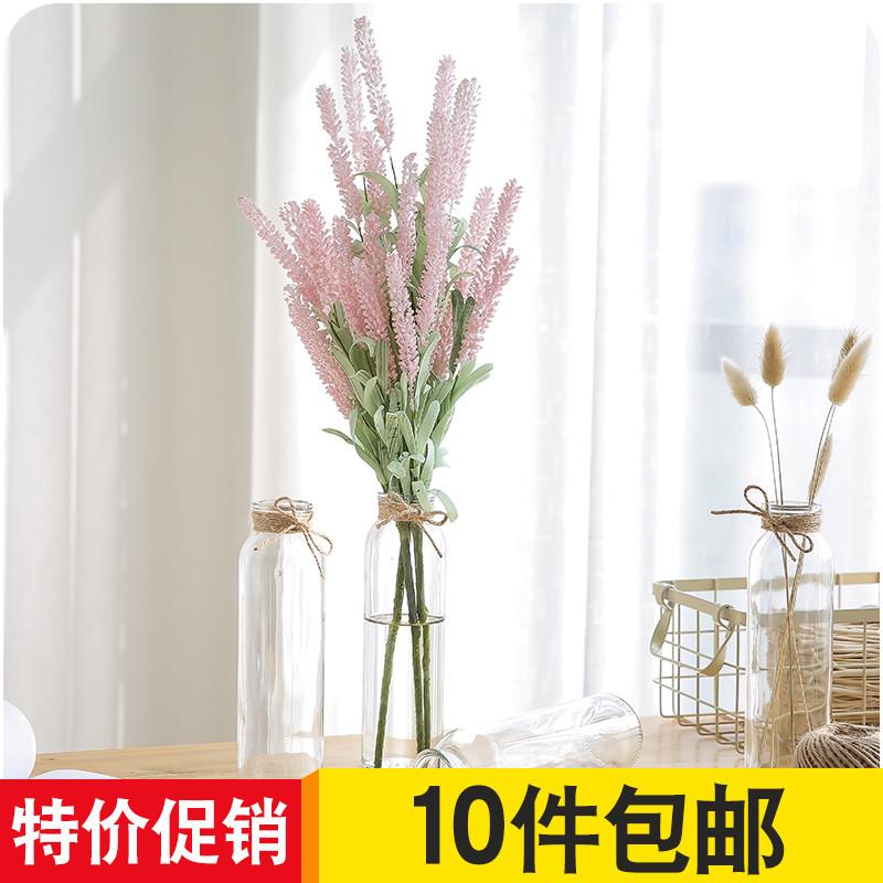 Стекло ваза творческий мода прозрачный цветочная композиция ваза гостиная простой небольшой свежий рабочий стол офис украшение сухие цветы бутылка