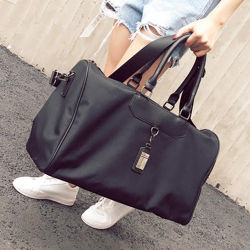 Короткий способ сумка женщина портативный багаж мешок для мужчин мощность холст багаж пакет легкий водонепроницаемый движение фитнес пакет волна
