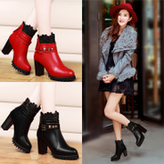 Shield new Fox fall 2015 coarse lace ankle boots women's shoes platform heels Europe head Martin boots women's boots