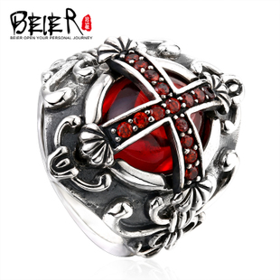 BEIER cross ruby ring silver jewelry Japan and South Korea retro fashion jewelry ring Thai Silver Men