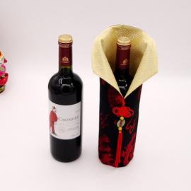 包邮中国风特色酒瓶套 丝绸旗袍瓶套百搭酒瓶套丝绸红酒套配玉佩