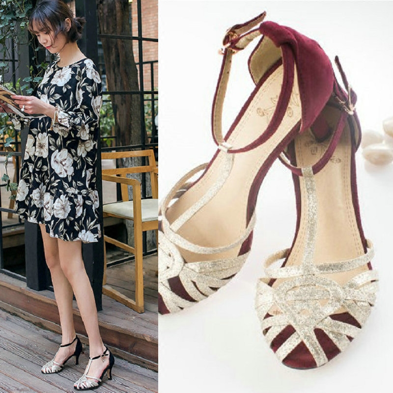 酒红色高跟中跟罗马凉鞋仙女的鞋镂空T字T型扣带搭扣细带闪亮片潮