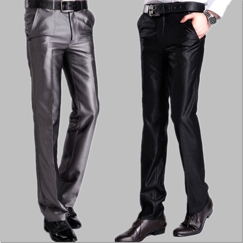 Wedding trousers male youth bright face easy to wear Korean version of slim groomsman groomsman suit pants performance dad bell bottoms summer