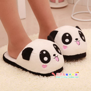 The bulk of the fall and winter home cute panda stereo models cotton slippers couple warm home heeled shoes for men and women