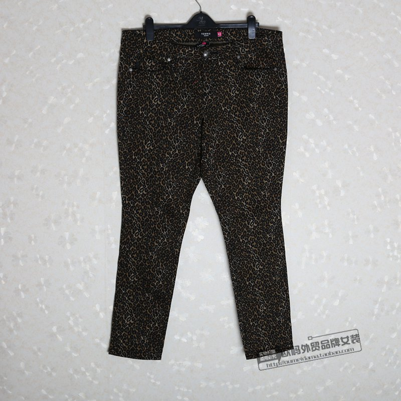 Блюдо дня плюс размер женщин джинсы зона XL женщин леопарда печати стрейч высокой талией брюки с связанные ноги моды