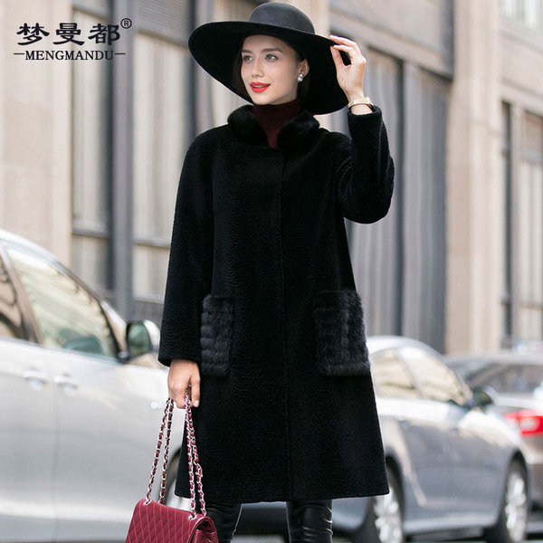 The new 2016 water mink collar Haining sheep shearing fur coat Girls long section collar wool coat Ms.