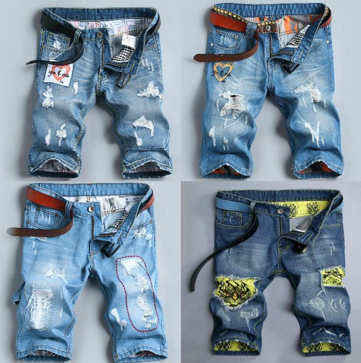 Летом джинсовые шорты мужчин и легкие отверстие установлены пять минут брюки для молодежи не мейнстримовых печати нищие прилив