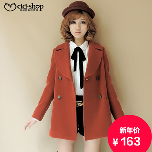 Japanese cicishop2015 new autumn and winter double breasted wool coat College Wind outer jacket female 1127
