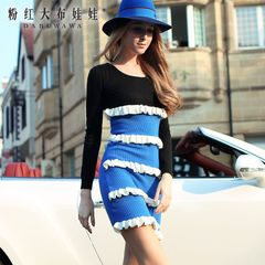 Slim dress pink doll 2015 summer new colour matching round neck long sleeve sweater dress