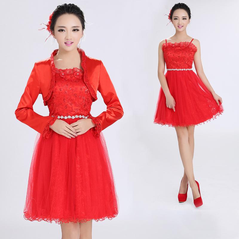 新款2017春秋款短款婚纱红色新娘结婚敬酒服蓬蓬裙甜美公主松紧腰
