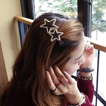 五角星发夹星星韩国蝴蝶结镂空镶钻鸭嘴夹边夹刘海一字夹头发夹子