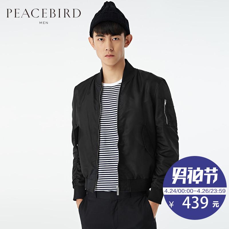 太平鳥夾克男 春裝 外套黑色修身米奇夾克衫BYBC61103