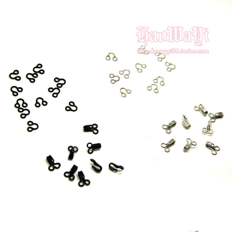 *BJD good baby clothes * Mini 6mm wide invisible button hook buckle black silver collar buckle / buckle / collar hook 2 yuan 20 pairs