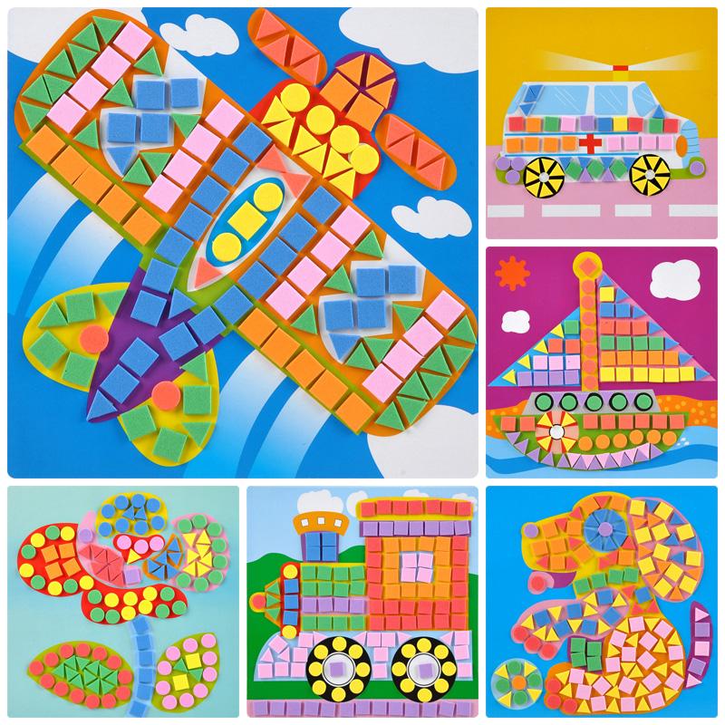 马赛克贴画 儿童手工制作材料包幼儿园小班3d粘贴画diy创意玩具