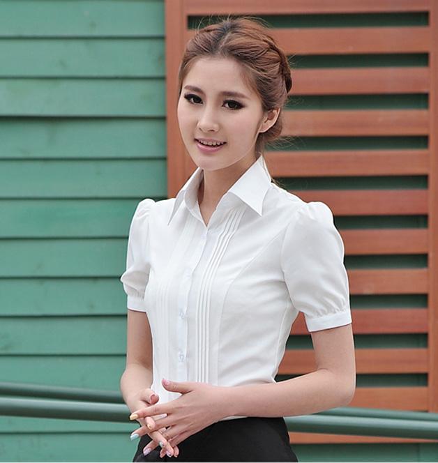 2018夏装新款大码雪纺女白衬衫短袖  修身ol韩版衬衣职业打底女装