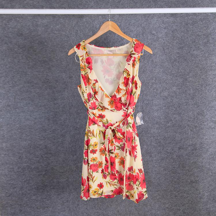欧美FOREVER 新款21超美渲染大红花朵 木耳边 深V领 连衣裙