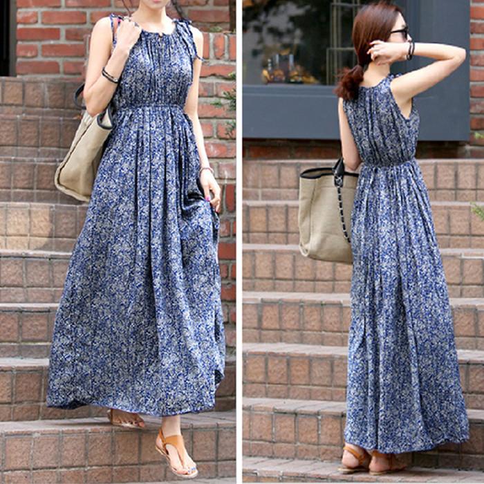 夏季連衣裙人造棉背心裙寬鬆大碼棉綢圓領波西米亞藍色碎花長裙女