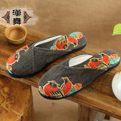 Han genuine padded canvas dance slippers embroidered end of antiskid layer women Sandals shoes wood flooring at home watch