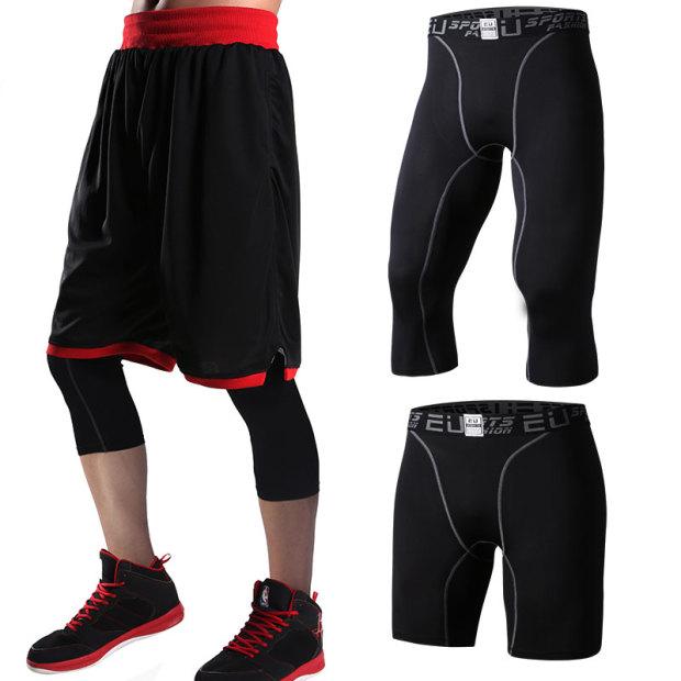 籃球 緊身長褲男彈力男緊身褲健身服套裝三件套打底壓縮短褲