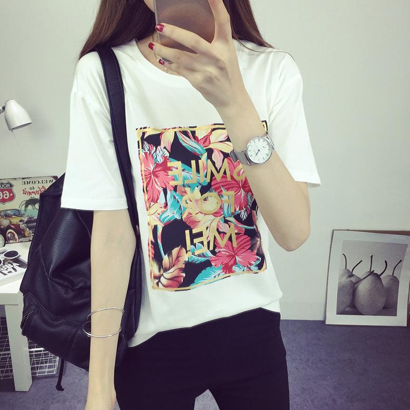 表演时刻夏天新款宽松印花短袖T恤女韩国休闲百搭半袖学院风体恤