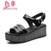 Faiccia/non 2015 summer styles Shoppe women genuine leather patent leather peep-toe wedges Sandals 2427