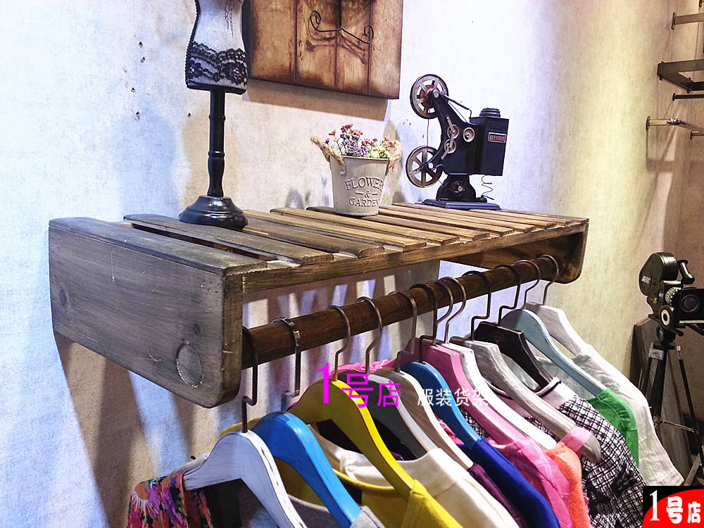 Одежда магазин вешалка дисплей полка деревянный дерево ребятишки женщины магазин на стена полка одежда полка положительный кулон земля тайвань