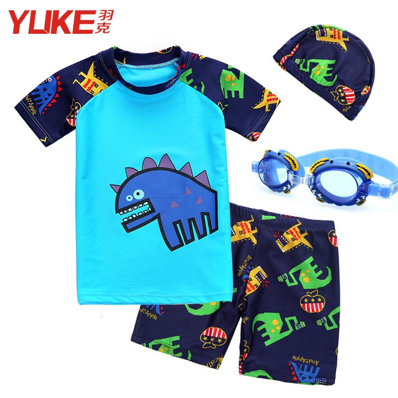 兒童泳衣短袖套裝男童卡通泳裝防曬男孩分體寶寶速幹溫泉泳褲泳帽