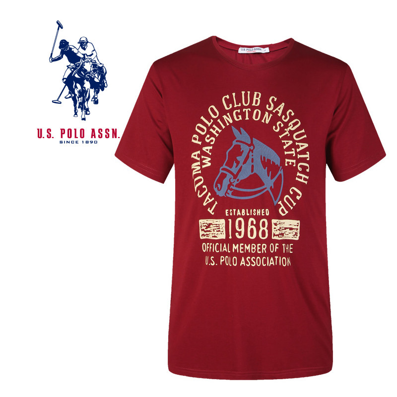 American Polo Association t-shirt mens short sleeve mens wear cotton loose youth print base shirt summer