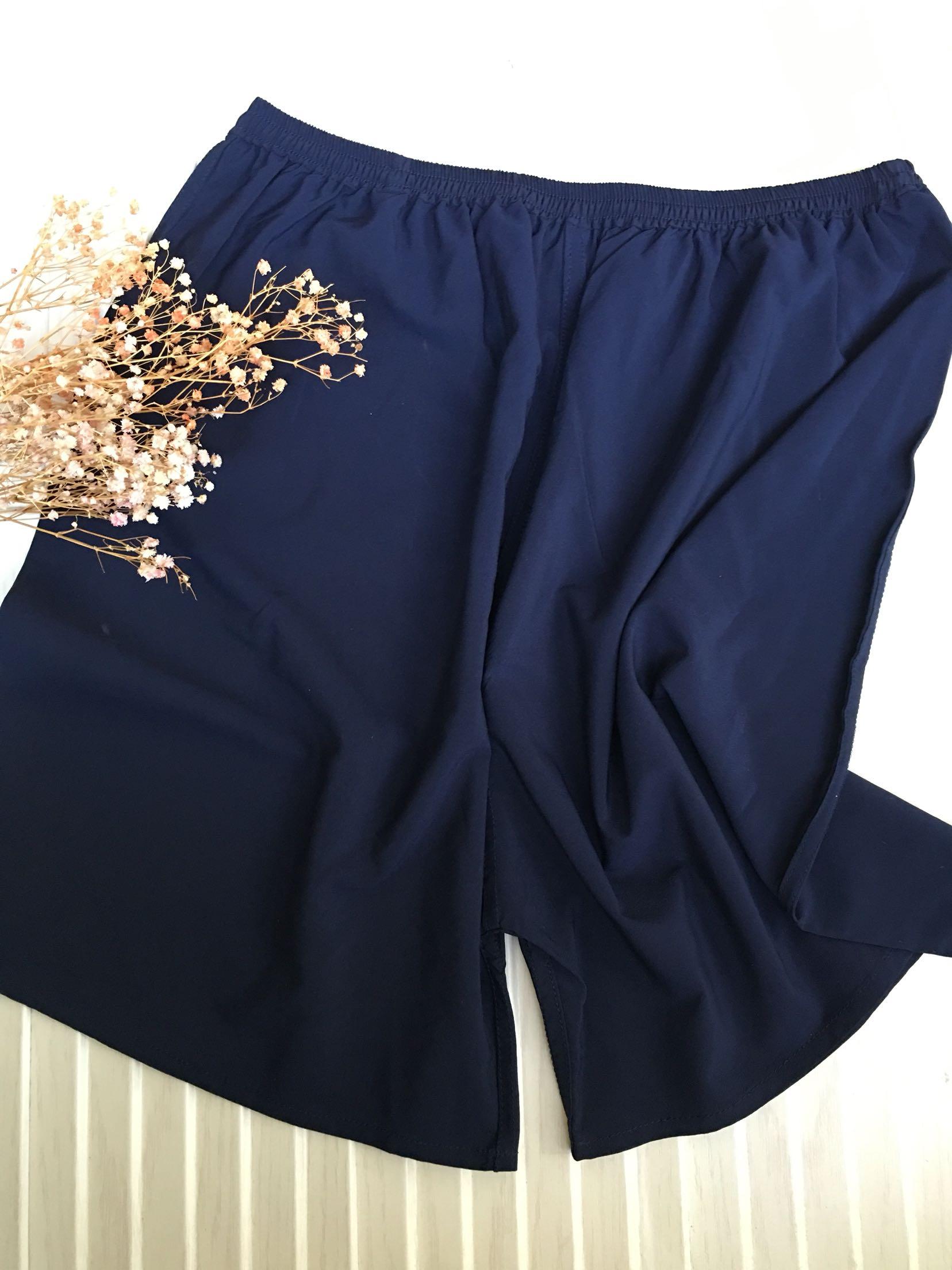 Mulberry silk mens Home Shorts / beach pants crepe de Chine good material dark blue