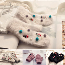 ELEVENCC winter warm thickening of rabbit hair and lovely Christmas mittens female hand sewing decorative ice cream