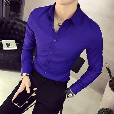 2017秋季型男时尚长袖衬衣 男士韩版修身纯色衬衫C12P30特价