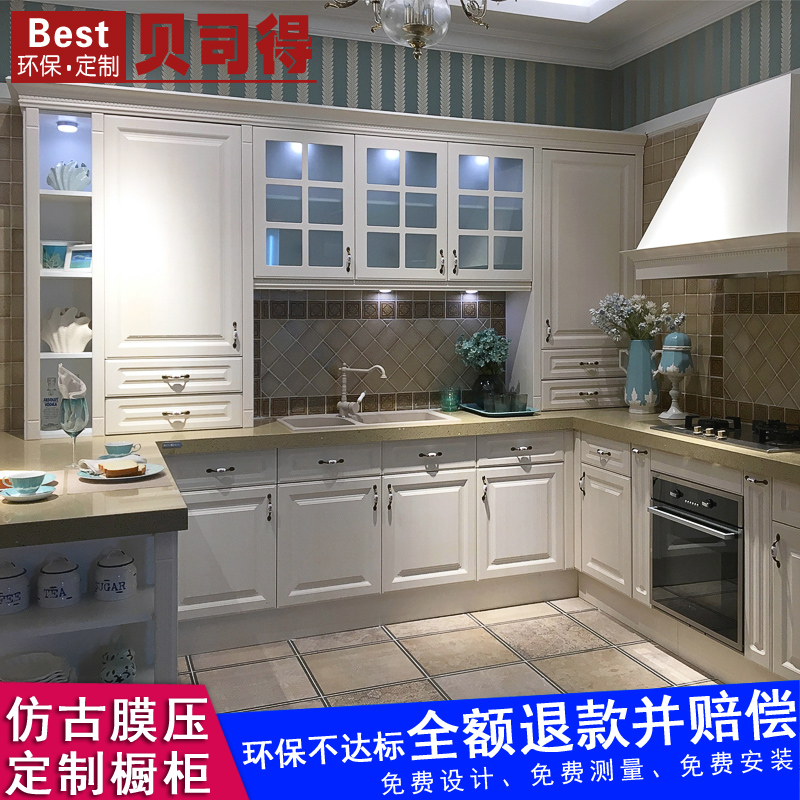 Bestead whole cabinet custom film pressure European kitchen counter decoration design customized installation in Nanjing factory