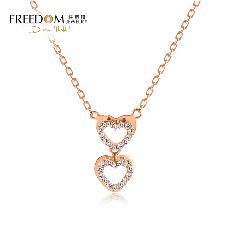 Furuidi fashion jewelry womens 18k rose gold color gold group set diamond Double Heart Pendant Necklace clavicle chain