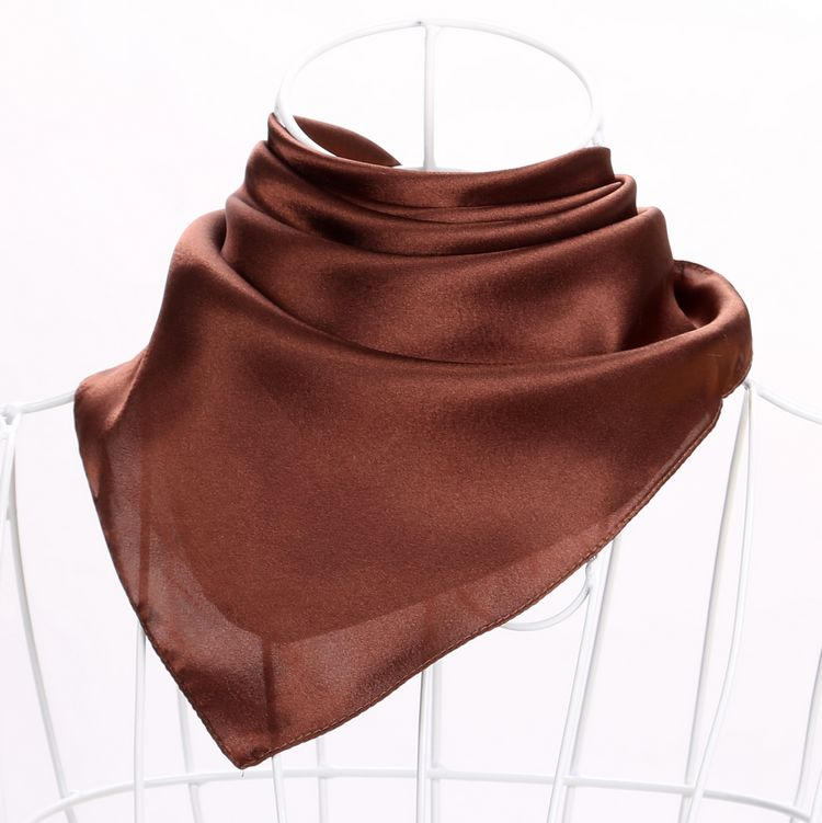 Solid small square scarf ladys triangle silk scarf bank stewardess business etiquette professional silk scarf coffee color