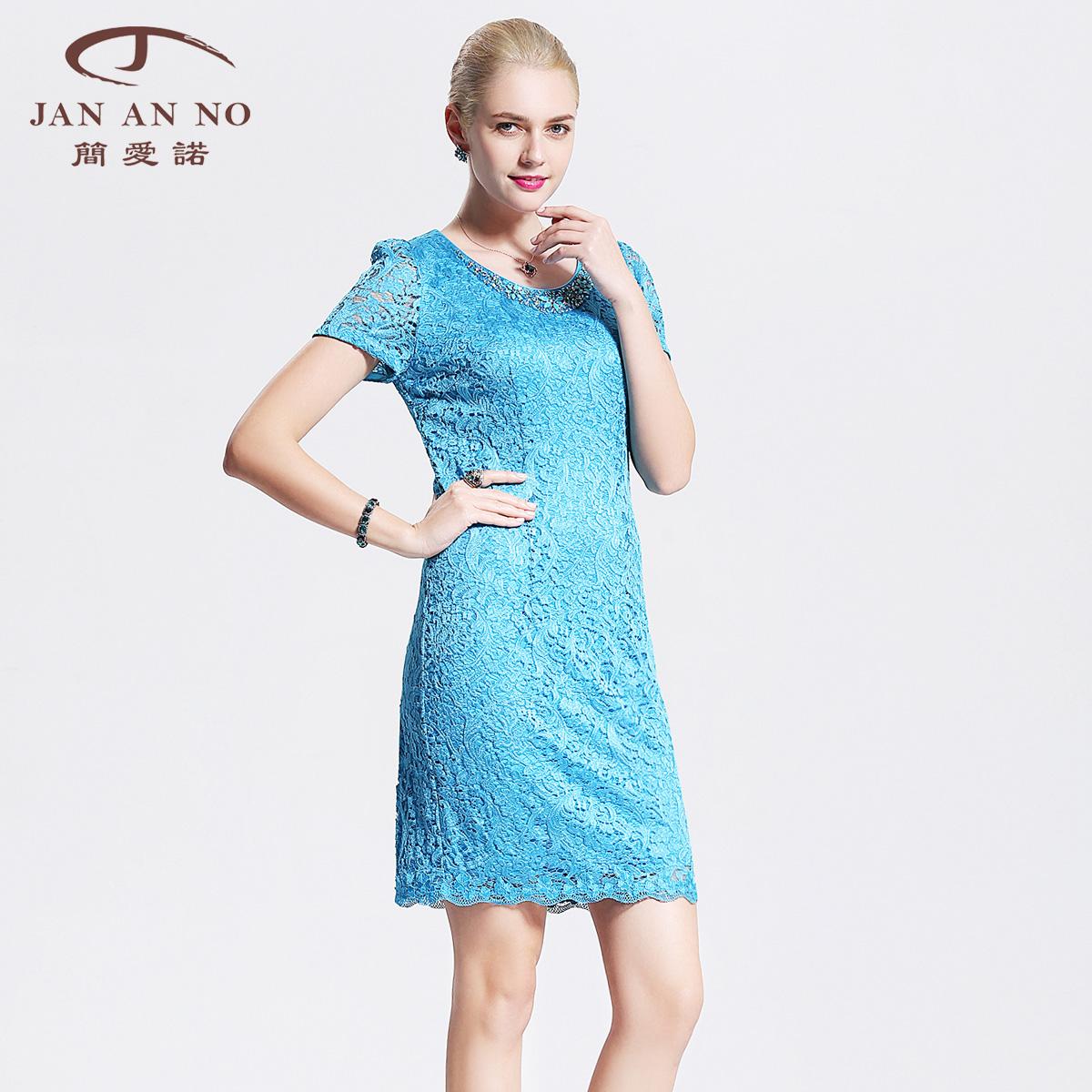 简爱诺中年女装蕾丝连衣裙包裙女夏2018新款修身包臀裙J510098LQ