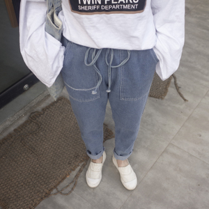 162实拍高腰牛仔裤女宽松bf风哈伦裤子潮学生九分裤显瘦