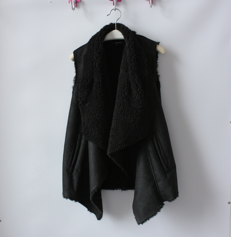 Европейская осень зима простота дамы slim длинный замша искусственный мех жилет жилет жилет женщин
