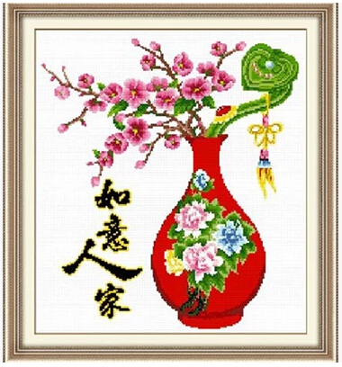 Printing color bead embroidery full bead embroidery Ruyi family plum blossom vase new living room bead embroidery cross stitch string bead embroidery