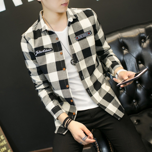 春款全棉磨毛格子衬衫男长袖青少年学生修身衬衣QT5032 C811