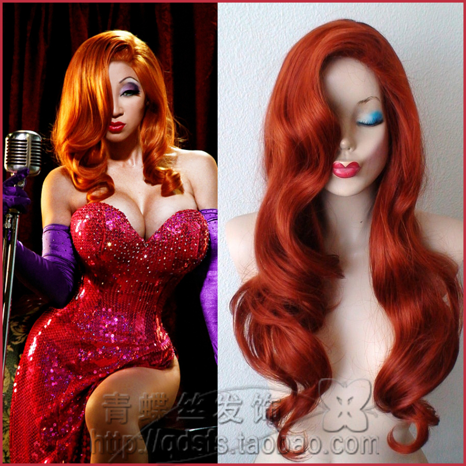 Foreign trade female copper red wig Jessica Rabbit Cosplay Christmas dance cartoon Sexy Wig
